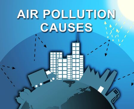contamination: Air Pollution Causes City Means Contamination 3d Illustration Stock Photo