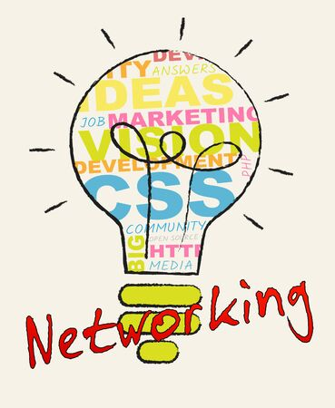 Networking Lightbulb Words Represents Global Communications 3d Illustration
