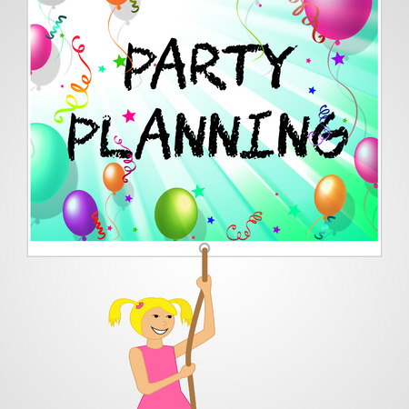 festive occasions: Party Planning Sign Representing Organizer Planner And Celebrate 3d Illustration