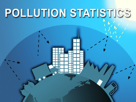 Pollution Statistics City Shows Fouling Stats 3d Illustration