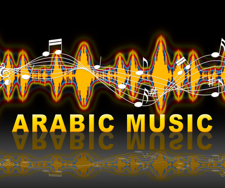 Arabic Music Soundwaves Shows Middle East Sound Tracks
