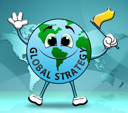 globally: Global Strategy Globe Character Shows Vision Globally 3d Illustration