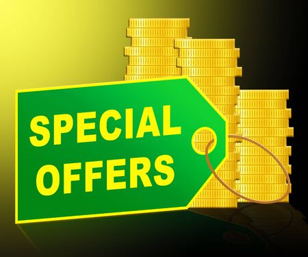 online specials: Special Offers Label And Coins Represents Big Reductions 3d Illustration