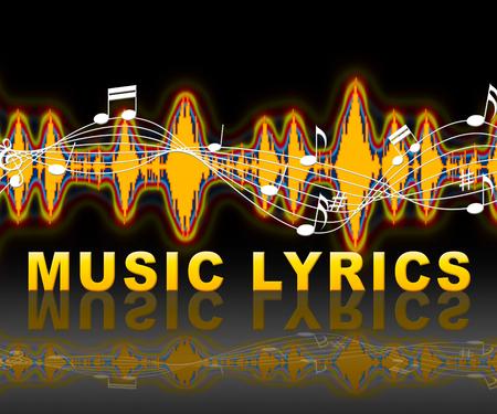music lyrics: Soundwave Indica Pista De Sonido Y Palabras Foto de archivo