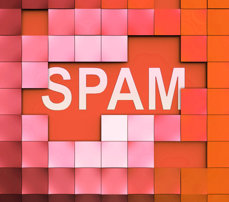 Spam Sign Showing Security Unwanted Mail Inbox Tablet Stock Photo