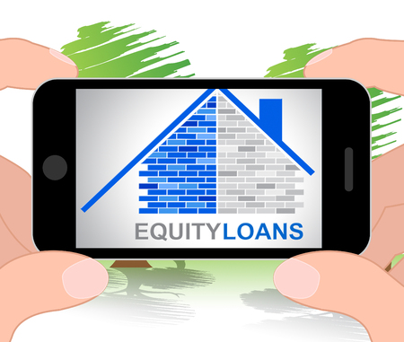 loaning: Equity Loans Phone Showing House Bank Loan Funding 3d Illustration Stock Photo