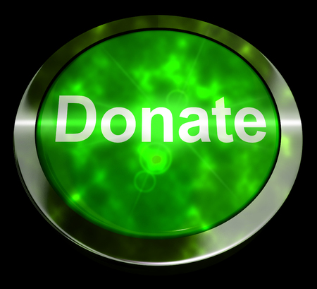 Donate Button Green Showing Charity And Fundraising 3d Rendering