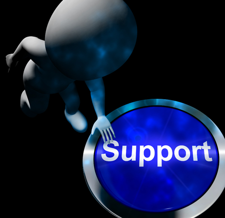 Support Button Showing Help Faq And Assistance 3d Rendering Stock Photo
