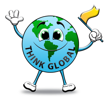 globally: Think Global Globe Character Means Contemplating Earth 3d Illustration Stock Photo