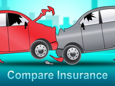 Compare Insurance Crash Shows Car Policy 3d Illustration