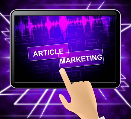 Article Marketing Tablet Indicating Commerce Newspaper And Publication 3d Illustration Stock Photo