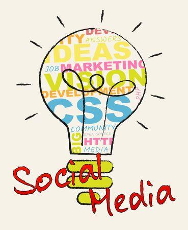 Social Media Lightbulb Shows Forums And Networking 3d Illustration