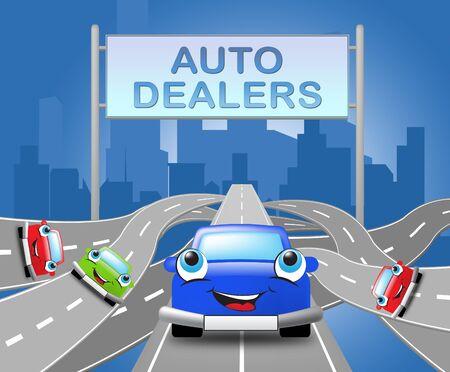 自動車ディーラー サインとシティ手段車・ ビジネス 3 d イラストレーション