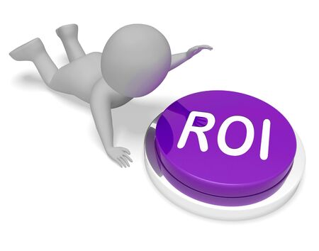 roi: ROI Character Pushing Button Means Financial Return 3d Rendering