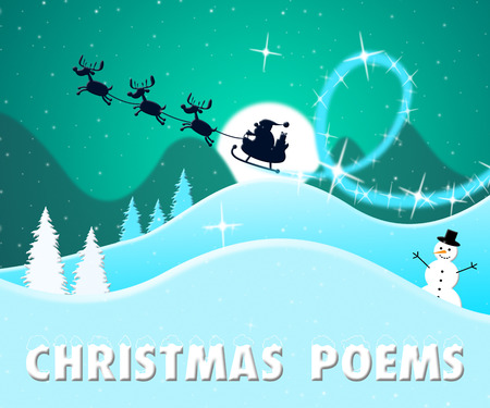 poems: Christmas Poems Santa Scene Means Festive Greeting Verse 3d Illustration Stock Photo