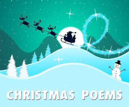 Christmas Poems Santa Scene Means Festive Greeting Verse 3d Illustration Stock Photo