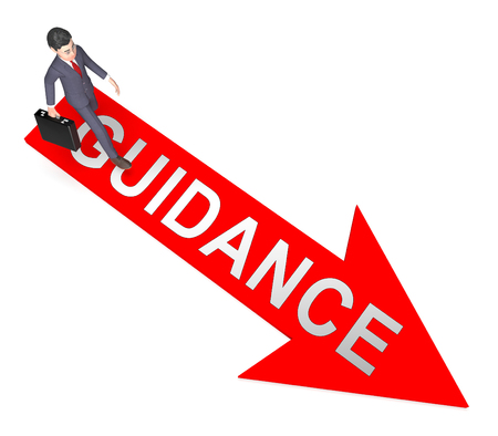 Guidance Character On Arrow Indicates Administration Guiding 3d Rendering Stock Photo