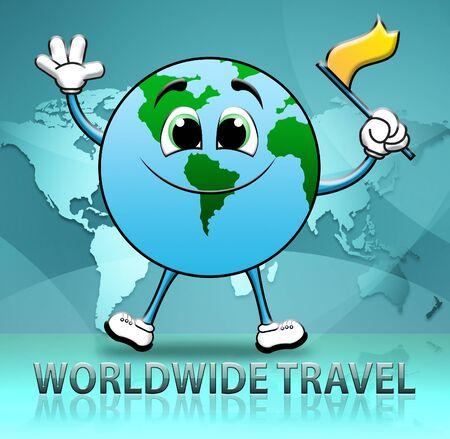 Worldwide Travel Globe Character Indicates Touring Roam 3d Illustration Stock Photo