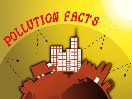 Pollution Facts Around City Shows Polluted World 3d Illustration