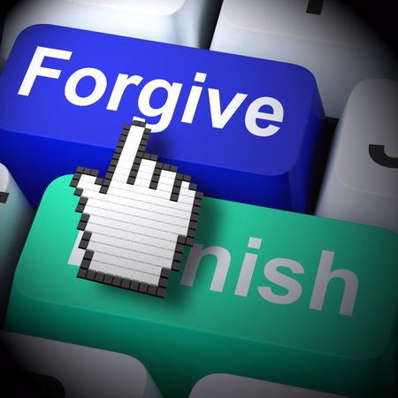 forgiving: Punish Forgive Computer Showing Punishment or Forgiveness 3d Rendering