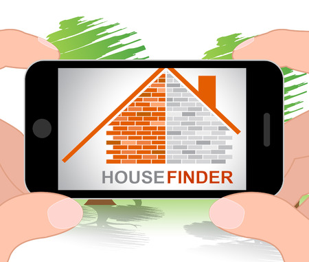 finders: House Finder Phone Indicating Search For And Household 3d Illustration Stock Photo