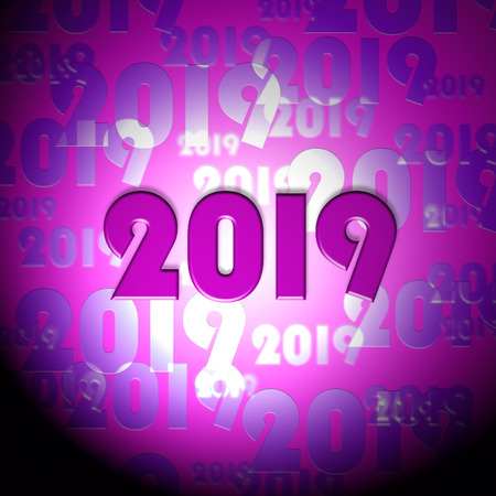 nineteen: Twenty Nineteen Numbers Showing 2019 New Year And Celebrate