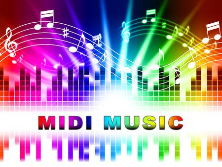 soundtrack: Midi Music Notes Design Shows Electronic Synthesizer Sound Tracks Stock Photo