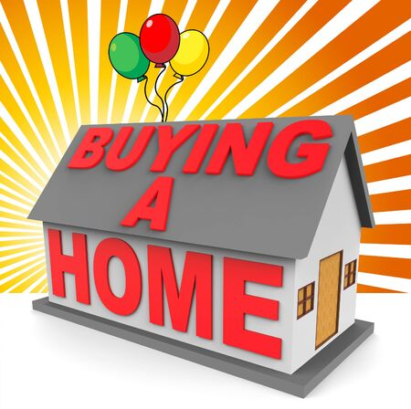 buying a home: Buying A Home With Balloons Showing Real Estate 3d Rendering Stock Photo