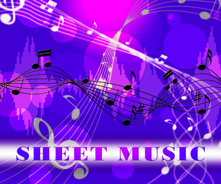 Sheet Music Floating Notes Notation Shows Tune And Melodies Stock Photo