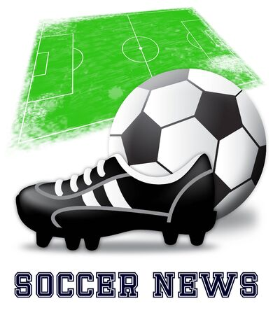 Soccer News Boots And Ball Shows Football Media 3d Illustration Stock Photo
