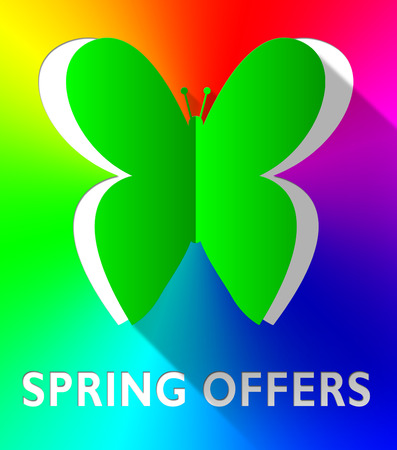 Spring Offers Butterfly Cutout Shows Bargain Offers 3d Illustration
