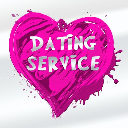 Dating Service Heart Design Showing Online Love 3d Illustration