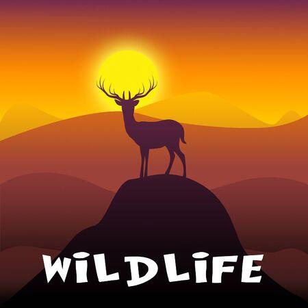 Wildlife Stag Mountain Scene Shows Wild Animals 3d Illustration