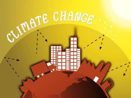 Climate Change Around City Represents Atmosphere Heating 3d Illustration