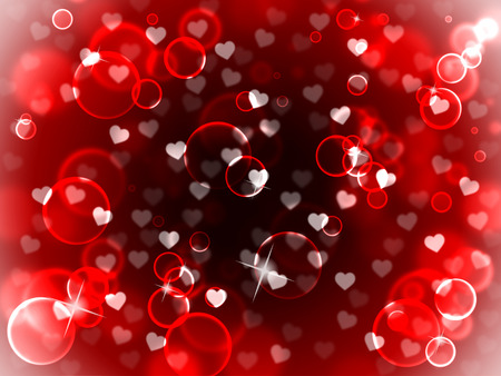 Hearts Love Background Shows Valentines Day Backdrops Stock Photo