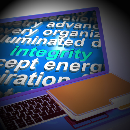 morality: Integrity Word Cloud Laptop Showing Honesty Morality And Trust 3d Rendering Stock Photo