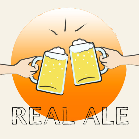real ale: Real Ale Beers Shows Unfiltered Beer And Hops Stock Photo