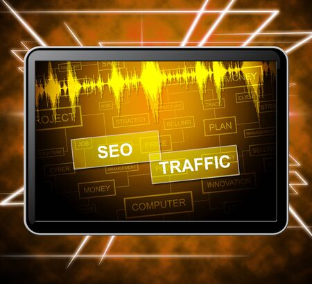 optimizer: Seo Traffic Tablet Representing Search Engines And Optimize 3d Illustration