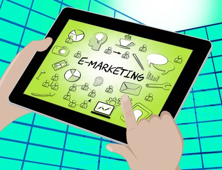 emarketing: Emarketing Icons Tablet Representing Internet Promotions And Selling 3d Illustration