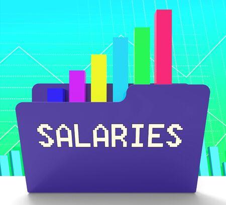remuneraciÓn: Salaries File Graph Representing Income Graph 3d Rendering