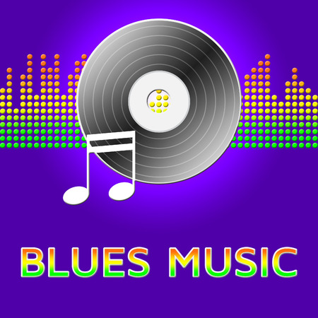 blues music: Blues Music Record Disc  Means Sound Track 3d Illustration Stock Photo