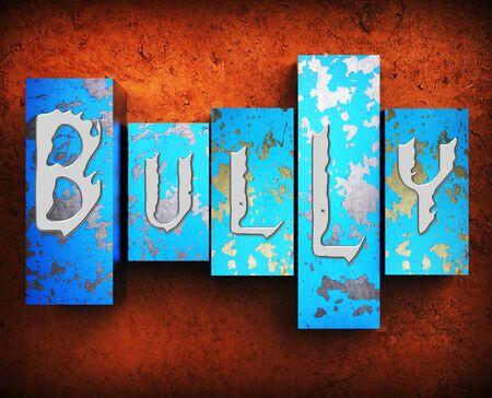 intimidation: Bullying Word Showing Push Around 3d Illustration Stock Photo