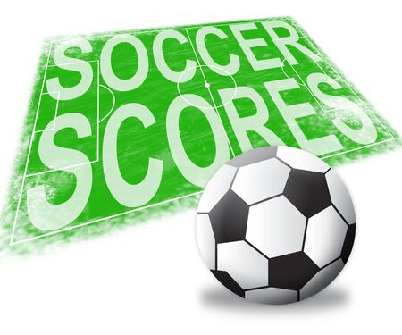 scores: Soccer Scores Pitch Shows Football Results 3d Illustration Stock Photo