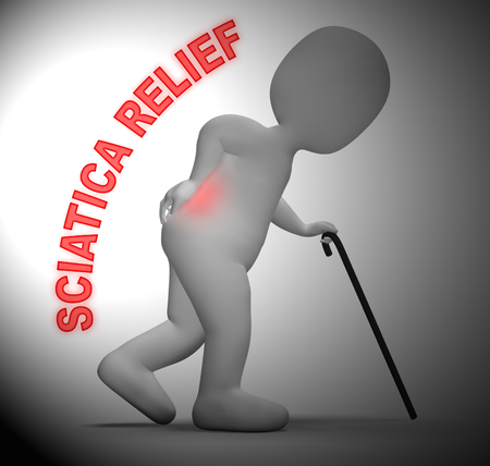 Sciatica Relief Character Meaning Spinal Pain Easing 3d Rendering