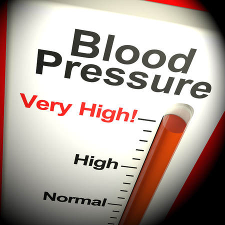 Very High Blood Pressure Thermometer Shows Hypertension 3d Rendering
