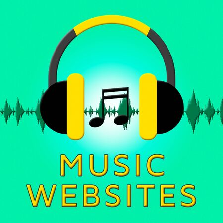 Music Websites Headphones Sound  Shows Sound Track 3d Illustration Stock Photo