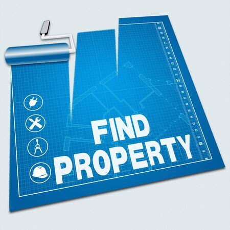 housing search: Find Property Paint Roller Means Search For 3d ILlustration Stock Photo