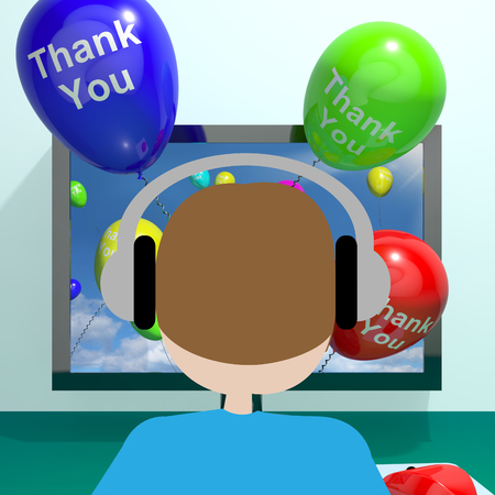 thankyou: Thank You Balloons Coming From Computer As Online Thanks Messages 3d Rendering