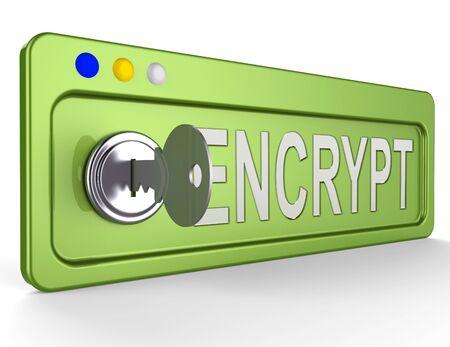 encrypt: Encrypt Lock And Key Showing Protection Encryption 3d Illustration