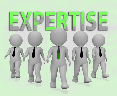 proficiency: Expertise Businessmen Characters Representing Master Skills 3d Rendering Stock Photo